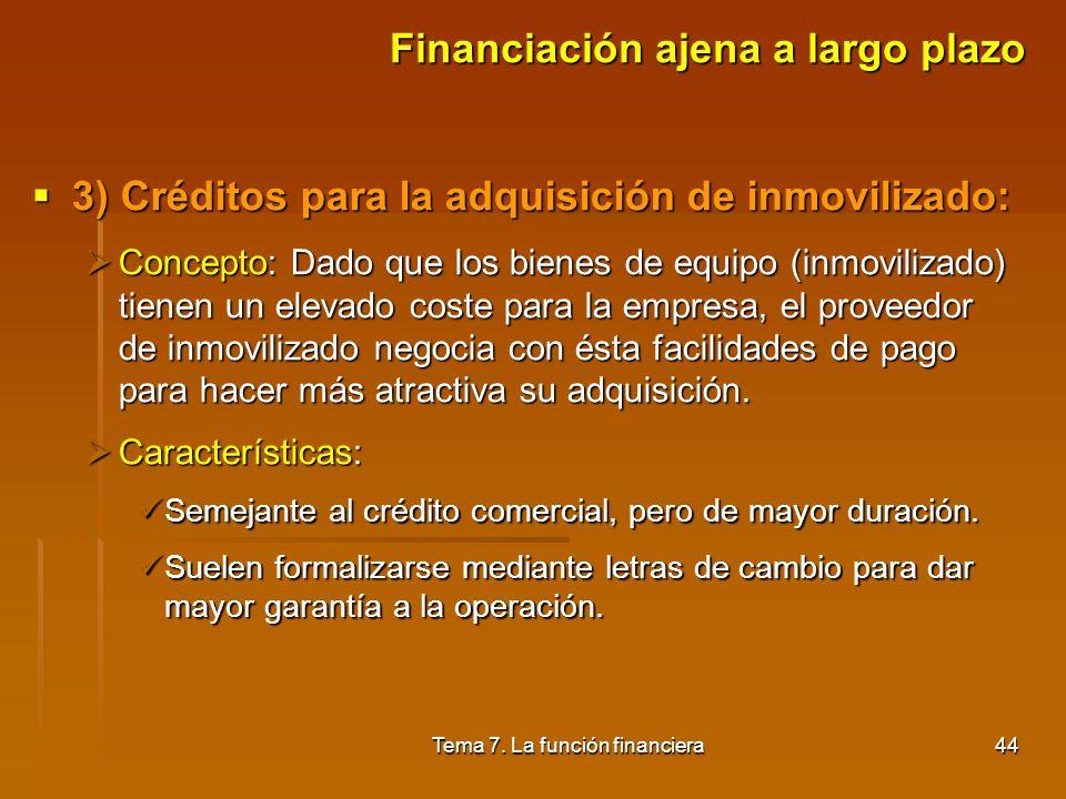 Tema 7. La función financiera43 Financiación ajena a largo plazo 2) Préstamos y créditos a medio y largo plazo: 2) Préstamos y créditos a medio y larg