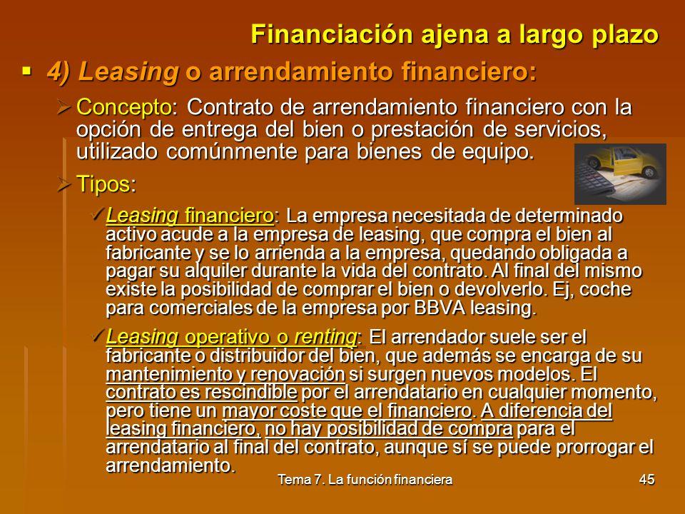 Tema 7. La función financiera44 Financiación ajena a largo plazo 3) Créditos para la adquisición de inmovilizado: 3) Créditos para la adquisición de i