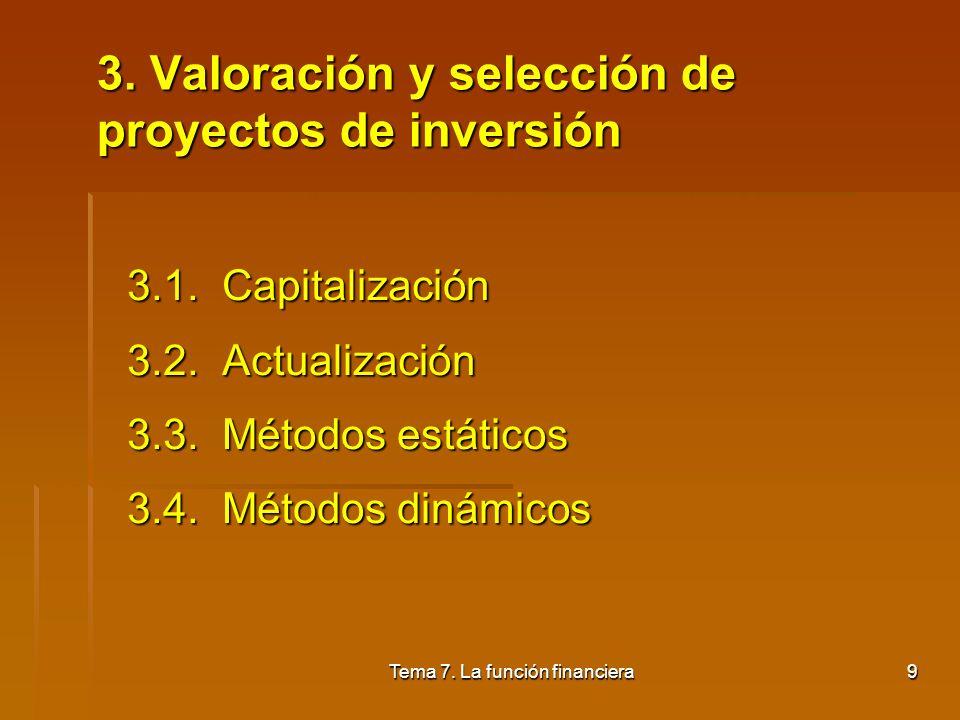 Tema 7. La función financiera8 Inversiones permanentes Inversiones permanentes Inversiones de renovación o de reemplazo: Inversiones de renovación o d