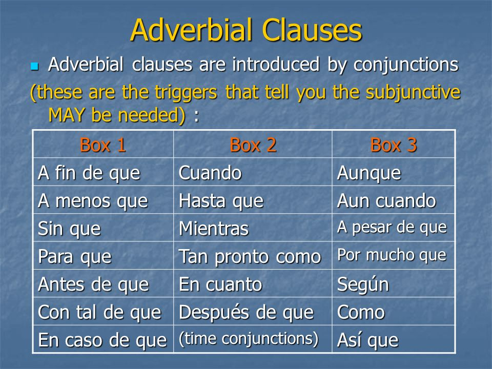 Adverbial Clauses Adverbial clauses are introduced by conjunctions Adverbial clauses are introduced by conjunctions (these are the triggers that tell
