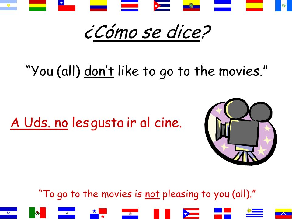 ¿Cómo se dice? You (all) dont like to go to the movies. To go to the movies is not pleasing to you (all). ir al cine.gustaA Uds. no les