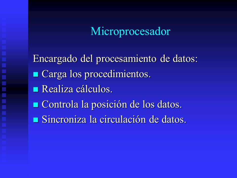 Microprocesador Encargado del procesamiento de datos: Carga los procedimientos. Carga los procedimientos. Realiza cálculos. Realiza cálculos. Controla