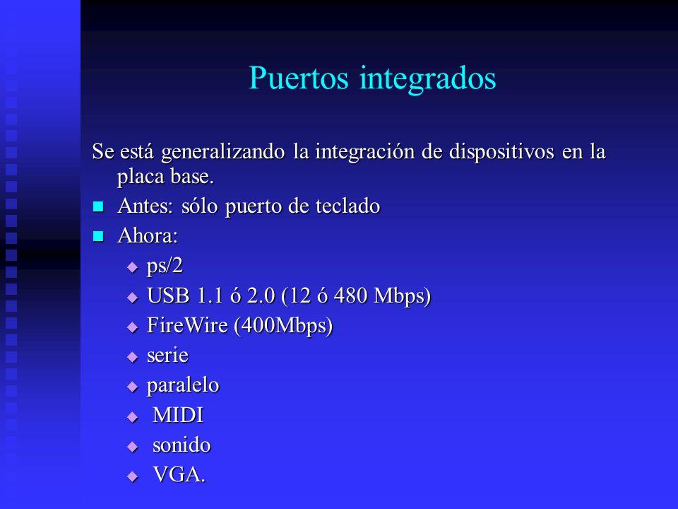 Puertos integrados Se está generalizando la integración de dispositivos en la placa base. Antes: sólo puerto de teclado Antes: sólo puerto de teclado