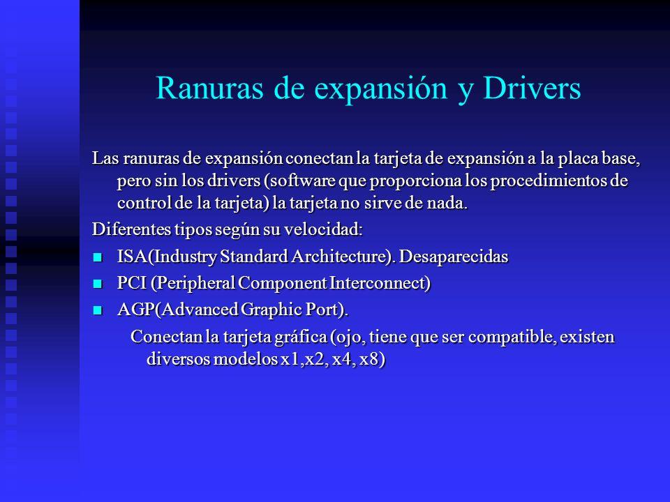 Ranuras de expansión y Drivers Las ranuras de expansión conectan la tarjeta de expansión a la placa base, pero sin los drivers (software que proporcio