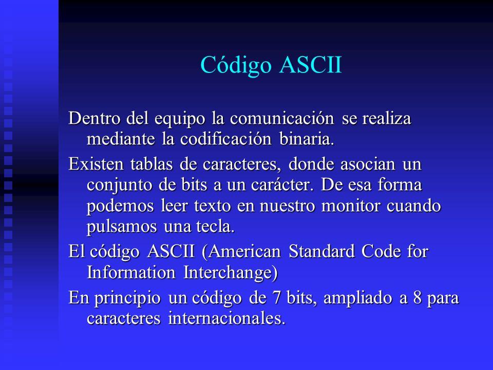 Código ASCII Dentro del equipo la comunicación se realiza mediante la codificación binaria. Existen tablas de caracteres, donde asocian un conjunto de