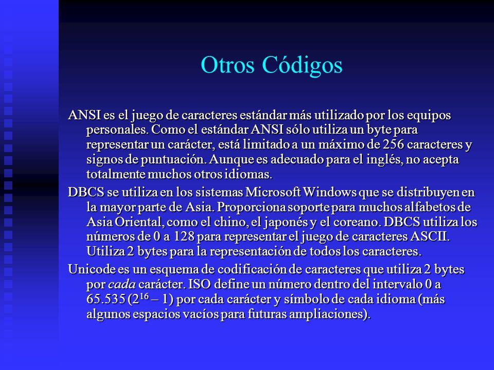 Otros Códigos ANSI es el juego de caracteres estándar más utilizado por los equipos personales. Como el estándar ANSI sólo utiliza un byte para repres