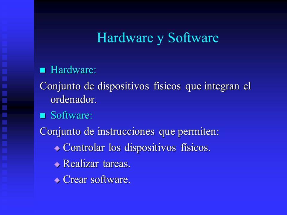 Hardware y Software Hardware: Hardware: Conjunto de dispositivos físicos que integran el ordenador. Software: Software: Conjunto de instrucciones que