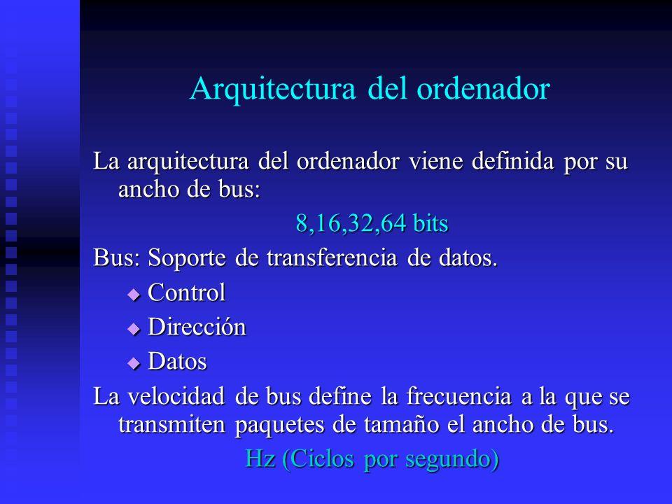 Arquitectura del ordenador La arquitectura del ordenador viene definida por su ancho de bus: 8,16,32,64 bits Bus: Soporte de transferencia de datos. C