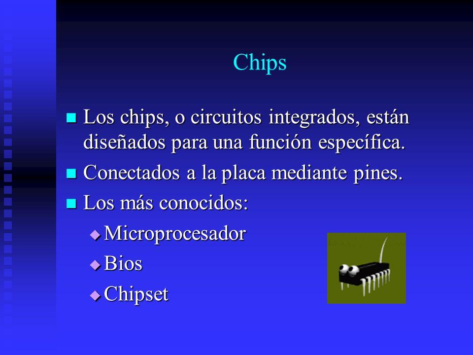 Chips Los chips, o circuitos integrados, están diseñados para una función específica. Los chips, o circuitos integrados, están diseñados para una func