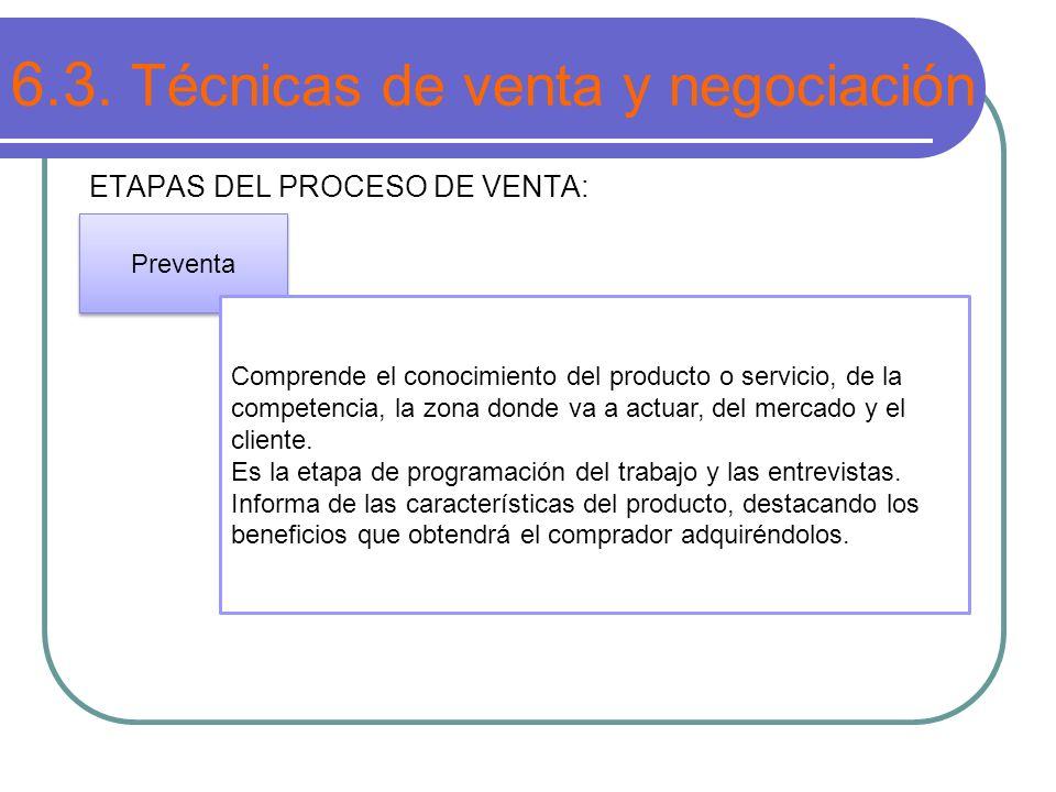 6.3. Técnicas de venta y negociación ETAPAS DEL PROCESO DE VENTA: Preventa Comprende el conocimiento del producto o servicio, de la competencia, la zo