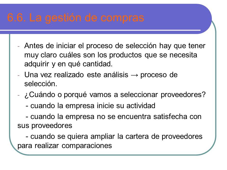 6.6. La gestión de compras - Antes de iniciar el proceso de selección hay que tener muy claro cuáles son los productos que se necesita adquirir y en q