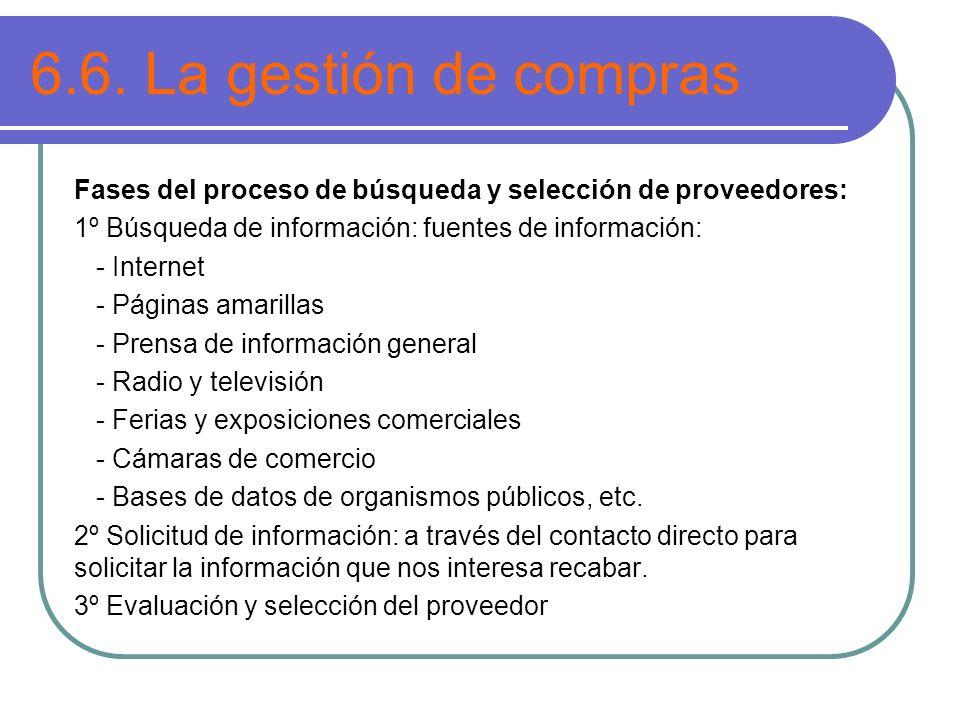 6.6. La gestión de compras Fases del proceso de búsqueda y selección de proveedores: 1º Búsqueda de información: fuentes de información: - Internet -