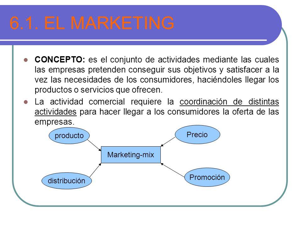6.1. EL MARKETING CONCEPTO: es el conjunto de actividades mediante las cuales las empresas pretenden conseguir sus objetivos y satisfacer a la vez las