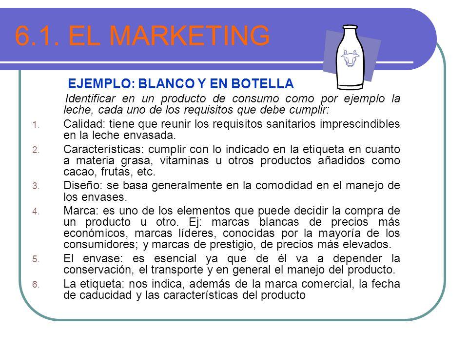 6.1. EL MARKETING EJEMPLO: BLANCO Y EN BOTELLA Identificar en un producto de consumo como por ejemplo la leche, cada uno de los requisitos que debe cu