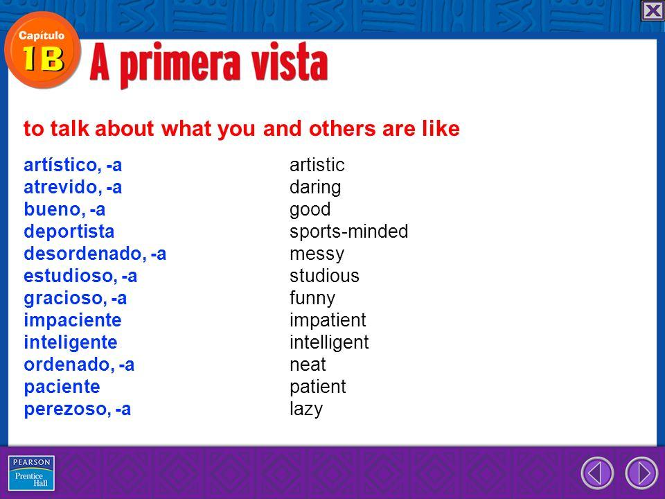 ... y muy ordenada. Vocabulario y gramática en contexto