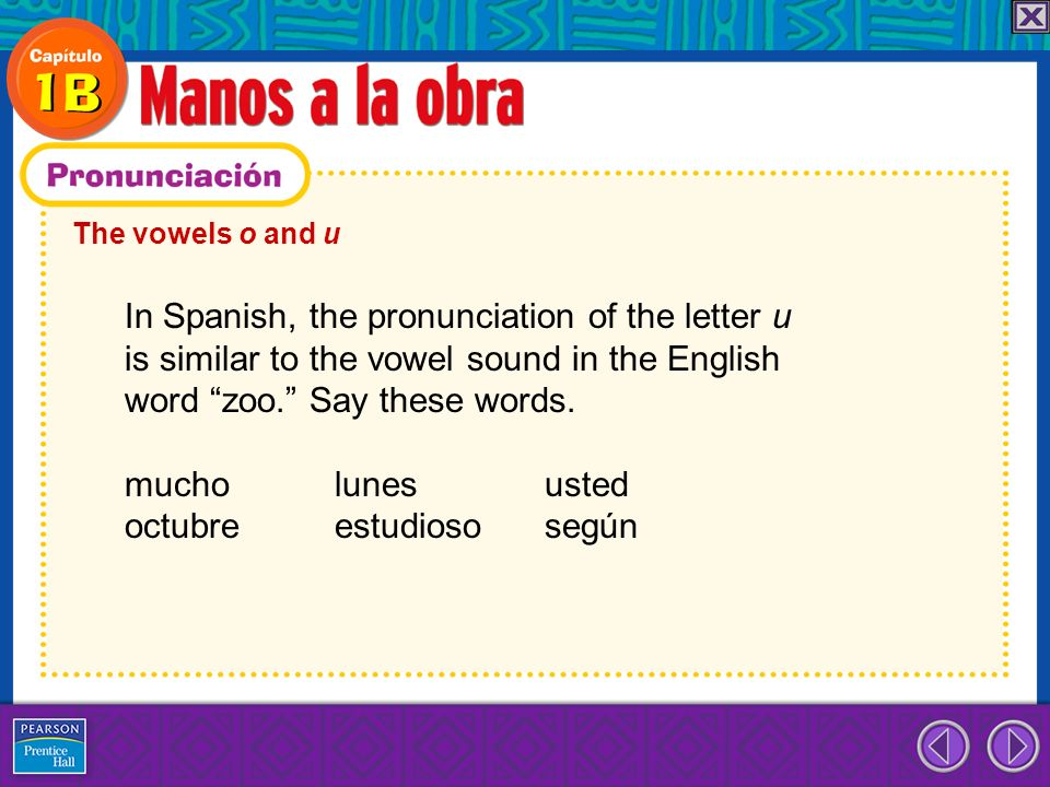 The vowels o and u In Spanish, the pronunciation of the letter u is similar to the vowel sound in the English word zoo. Say these words. mucho lunes u