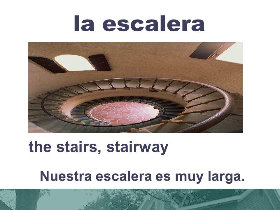la escalera the stairs, stairway Nuestra escalera es muy larga.