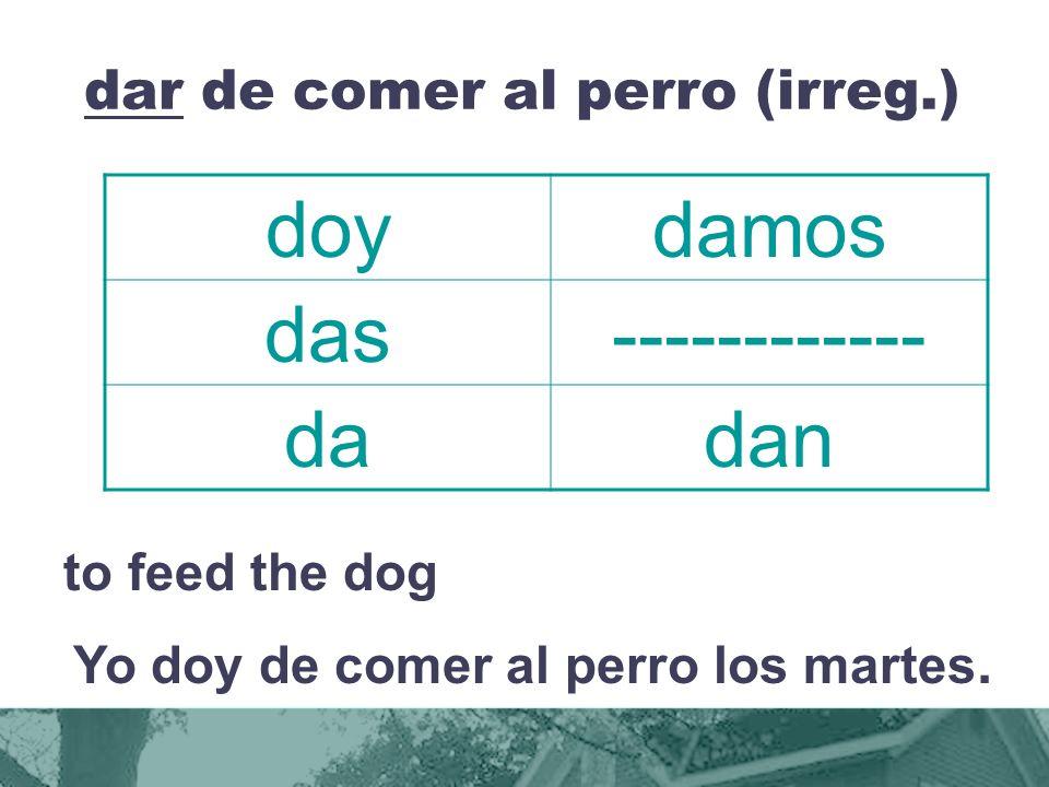 dar de comer al perro (irreg.) to feed the dog Yo doy de comer al perro los martes.