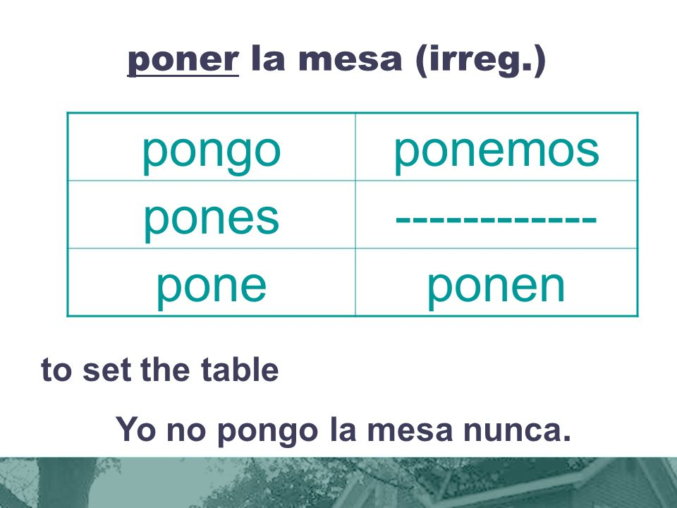 poner la mesa (irreg.) to set the table Yo no pongo la mesa nunca.