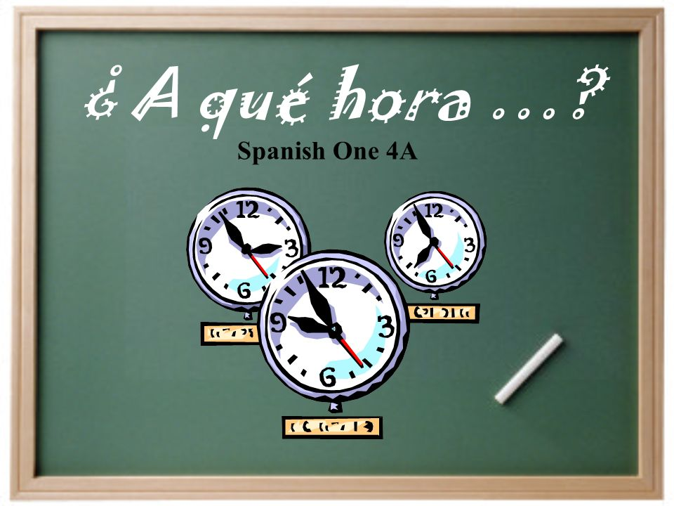 ¿ A qué hora …? Spanish One 4A