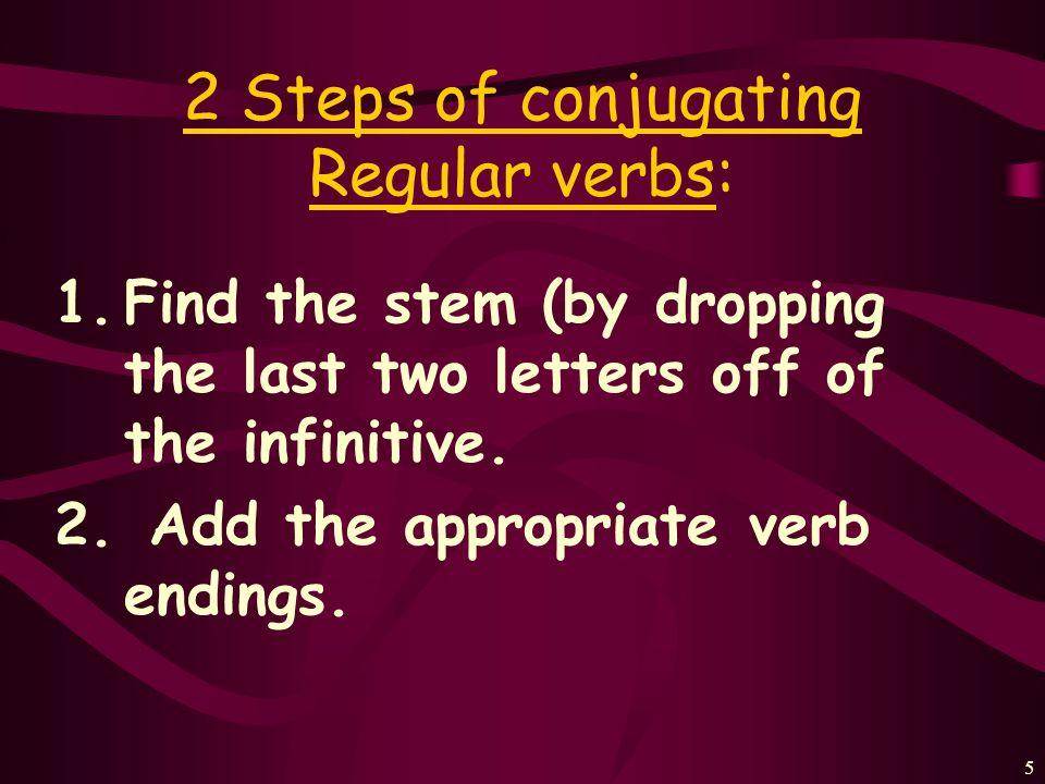 4 Every verb has 2 parts: Hablar= habl- Practicar= practic- Estudiar= estudi- Trabajar= trabaj- Cocinar= cocin- STEM+ENDING Mirar= mir- Escuchar= escuch- Tocar= toc- Presentar= present- Comprar= compr- (infinitive – ar)