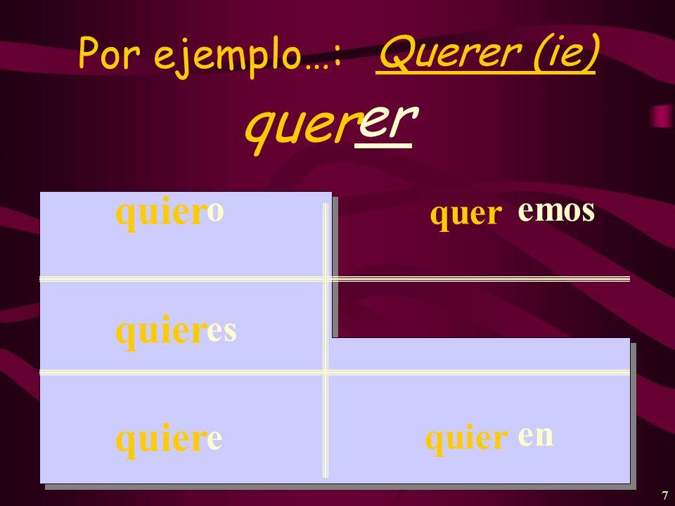 6 Por ejemplo…: hablar habl ar habl o as a amos an