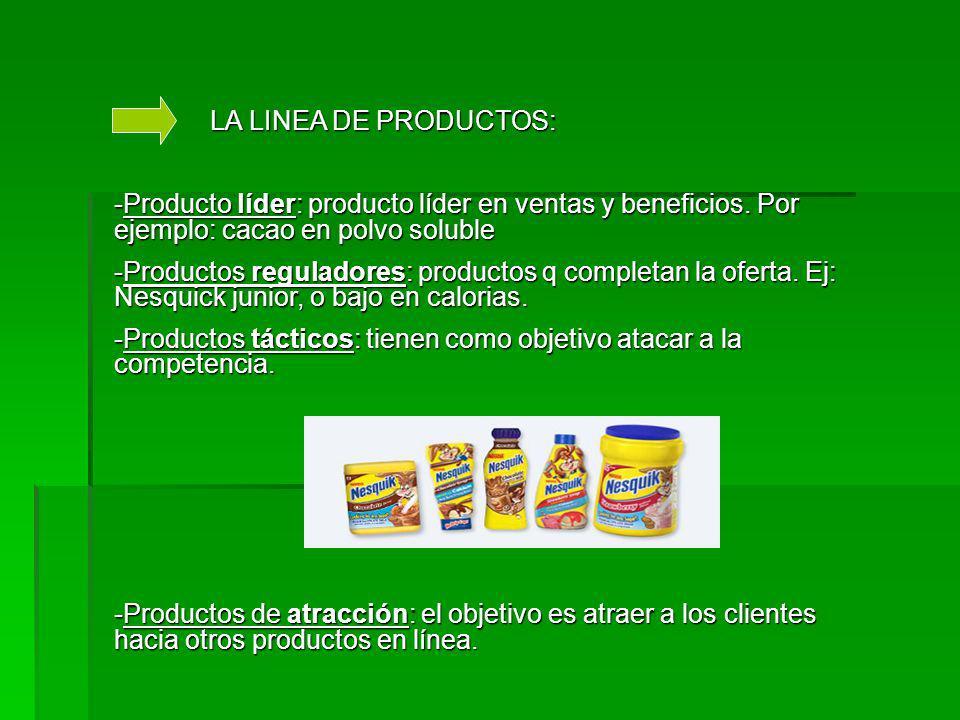 LA LINEA DE PRODUCTOS: -Producto líder: producto líder en ventas y beneficios.