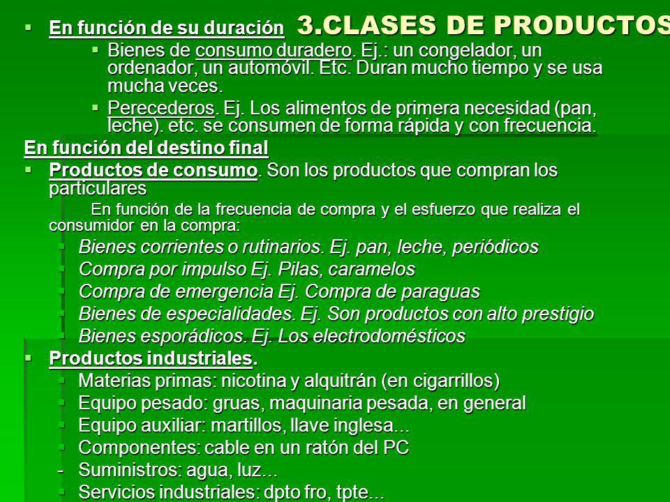 3.CLASES DE PRODUCTOS En función de su duración En función de su duración Bienes de consumo duradero.