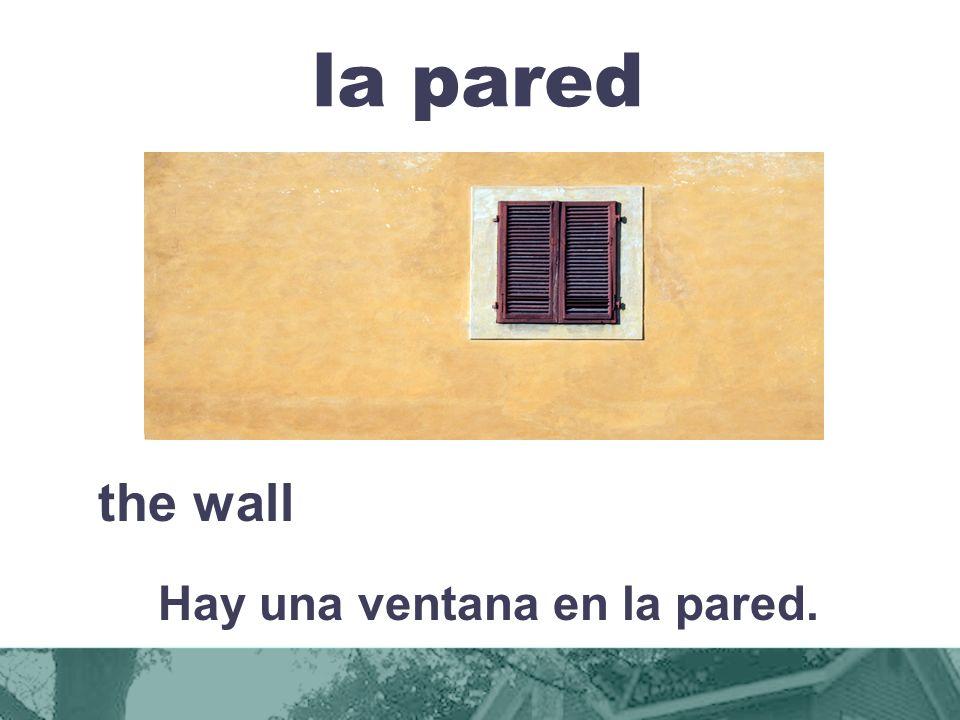 la pared the wall Hay una ventana en la pared.