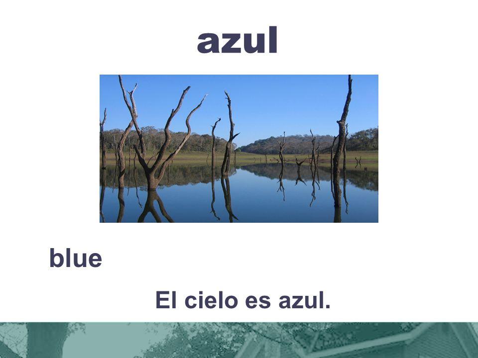azul blue El cielo es azul.