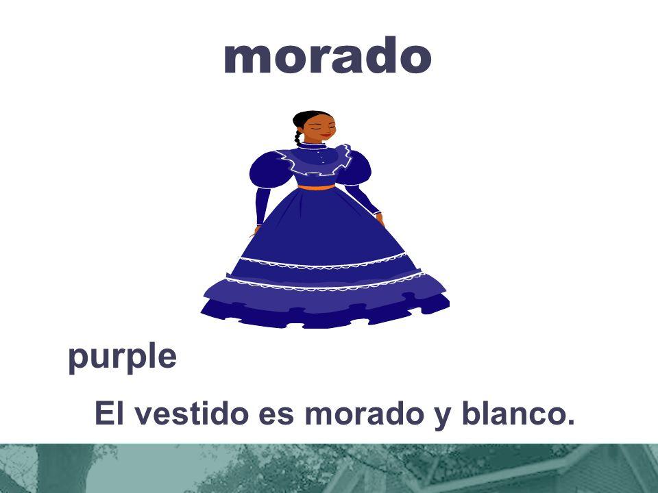 morado purple El vestido es morado y blanco.