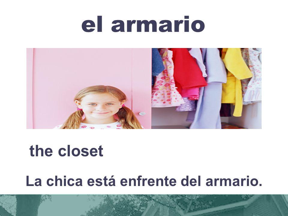 el armario the closet La chica está enfrente del armario.