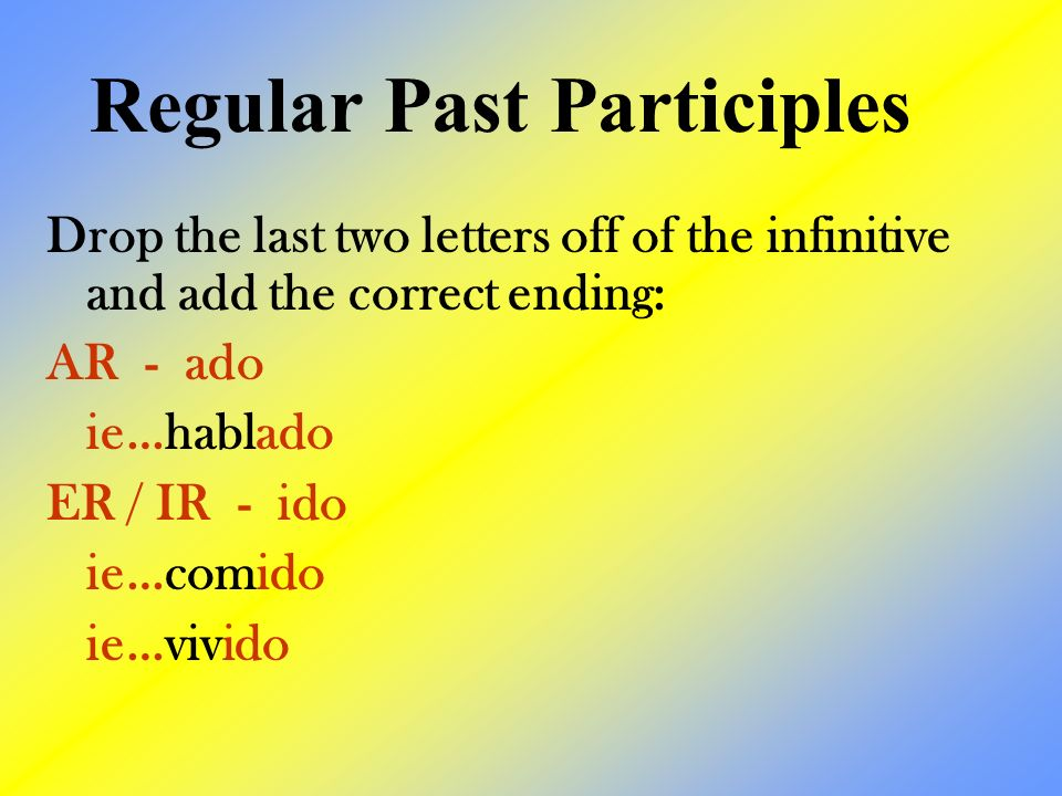Drop the last two letters off of the infinitive and add the correct ending: AR - ado ie…hablado ER / IR - ido ie…comido ie…vivido Regular Past Participles