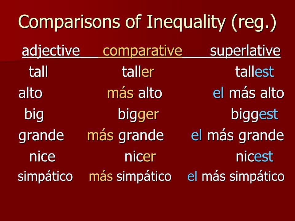 Comparisons of Inequality (reg.) adjective comparative superlative tall taller tallest alto más alto el más alto big bigger biggest grande más grande el más grande nice nicer nicest simpático más simpático el más simpático