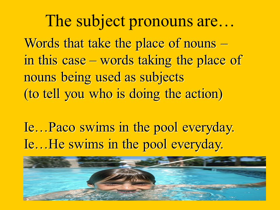 The English subject pronouns are: IWe We (f) You (fam)You all (fam) You all (fam)(f) He She You (formal) They They (f) You all