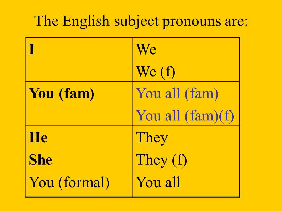 The Spanish subject pronouns are: YoNosotros Nosotras TúTúVosotros Vosotras Él Ella Usted Ellos Ellas Ustedes