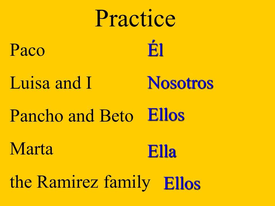 Felipe and I You (fam) El Sr. Trevino You and Ana Marta and Anita PracticeNosotros Tú Él Uds. Ellas