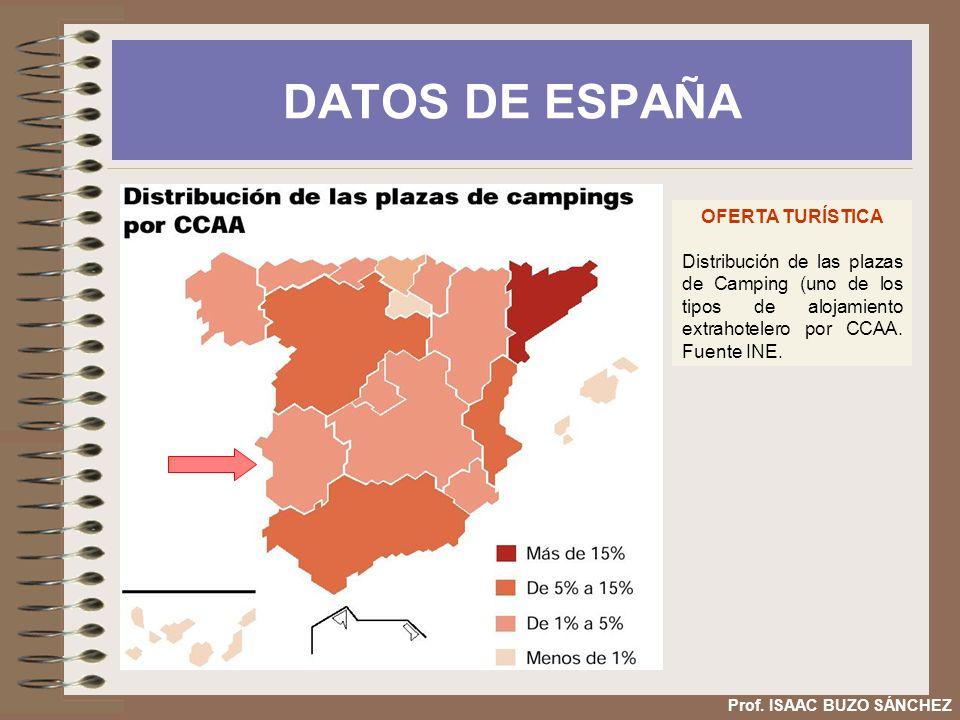 DATOS DE ESPAÑA OFERTA TURÍSTICA Distribución de las plazas de Camping (uno de los tipos de alojamiento extrahotelero por CCAA. Fuente INE. Prof. ISAA