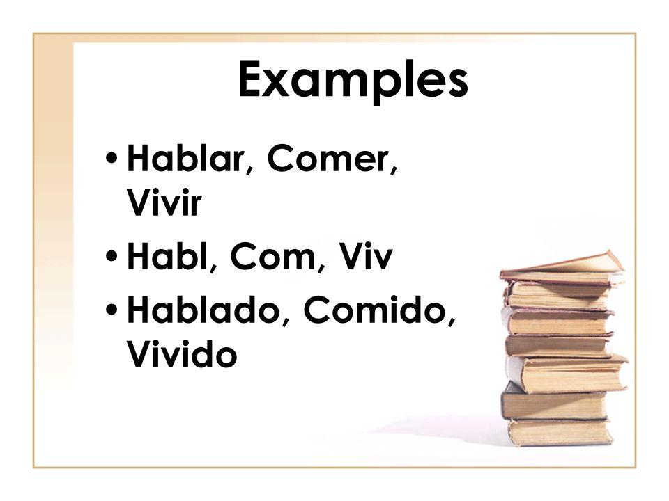 Examples Hablar, Comer, Vivir Habl, Com, Viv Hablado, Comido, Vivido