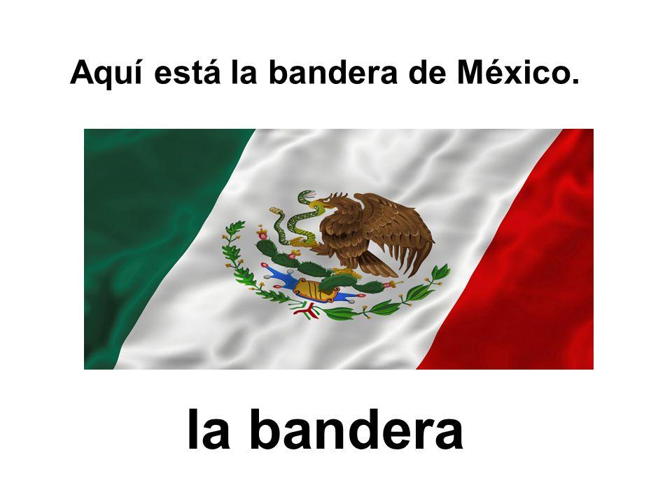 Aquí está la bandera de México. la bandera
