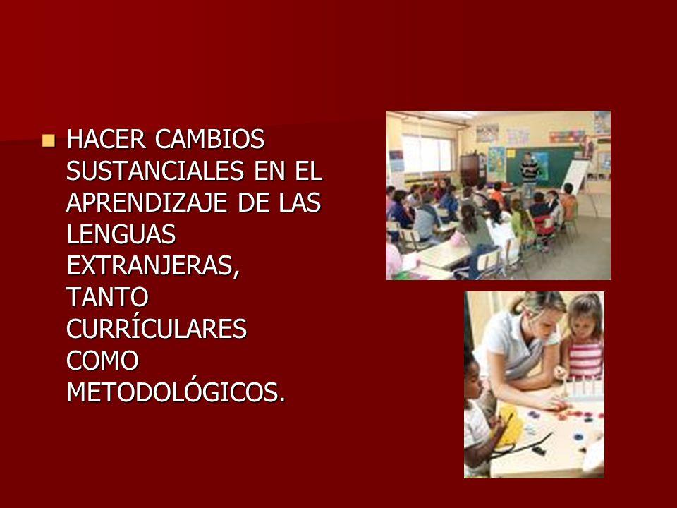 HACER CAMBIOS SUSTANCIALES EN EL APRENDIZAJE DE LAS LENGUAS EXTRANJERAS, TANTO CURRÍCULARES COMO METODOLÓGICOS. HACER CAMBIOS SUSTANCIALES EN EL APREN
