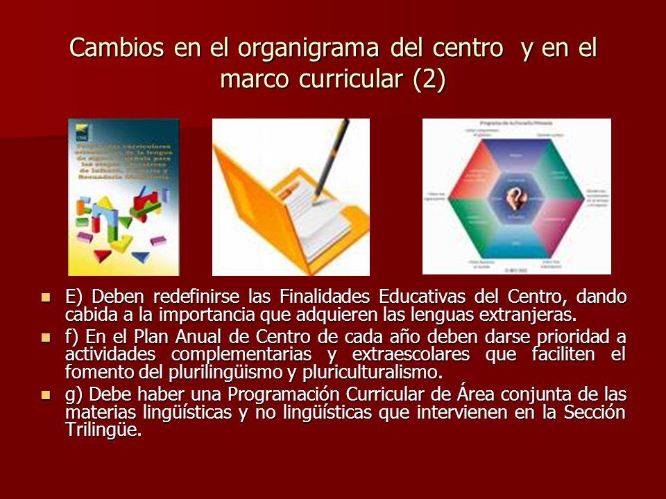 Cambios en el organigrama del centro y en el marco curricular (2) E) Deben redefinirse las Finalidades Educativas del Centro, dando cabida a la import