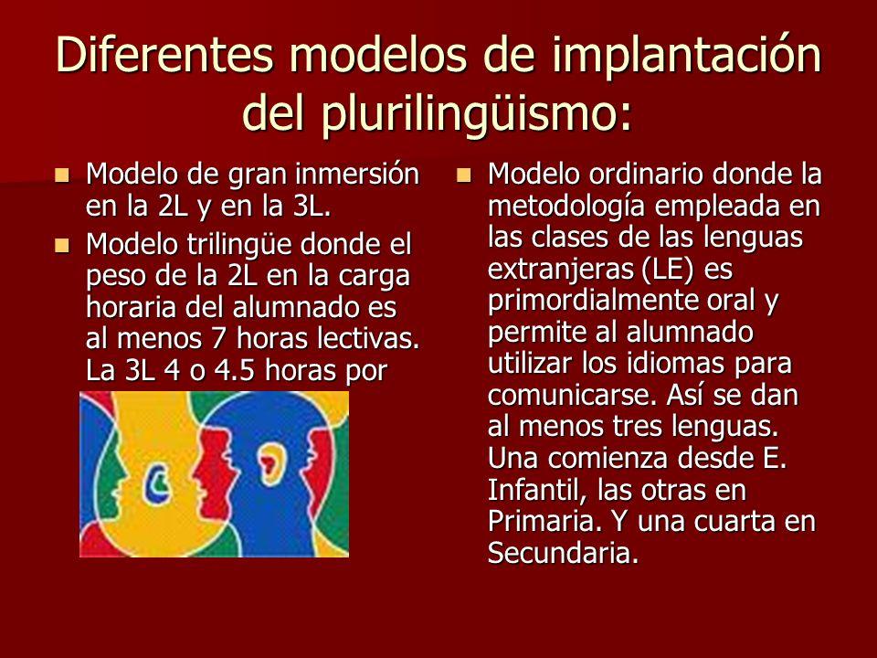 Diferentes modelos de implantación del plurilingüismo: Modelo de gran inmersión en la 2L y en la 3L. Modelo trilingüe donde el peso de la 2L en la car