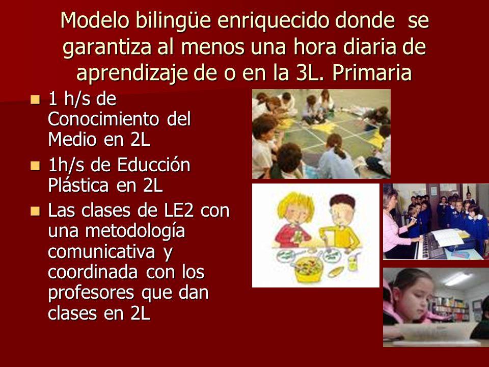 Modelo bilingüe enriquecido donde se garantiza al menos una hora diaria de aprendizaje de o en la 3L. Primaria 1 h/s de Conocimiento del Medio en 2L 1