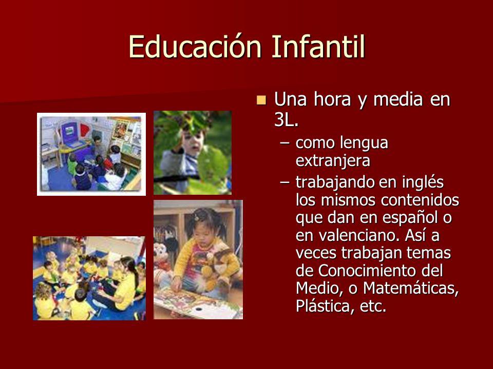 Educación Infantil Una hora y media en 3L. –c–como lengua extranjera –t–trabajando en inglés los mismos contenidos que dan en español o en valenciano.