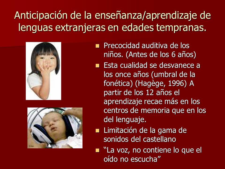 Anticipación de la enseñanza/aprendizaje de lenguas extranjeras en edades tempranas. Precocidad auditiva de los niños. (Antes de los 6 años) Precocida