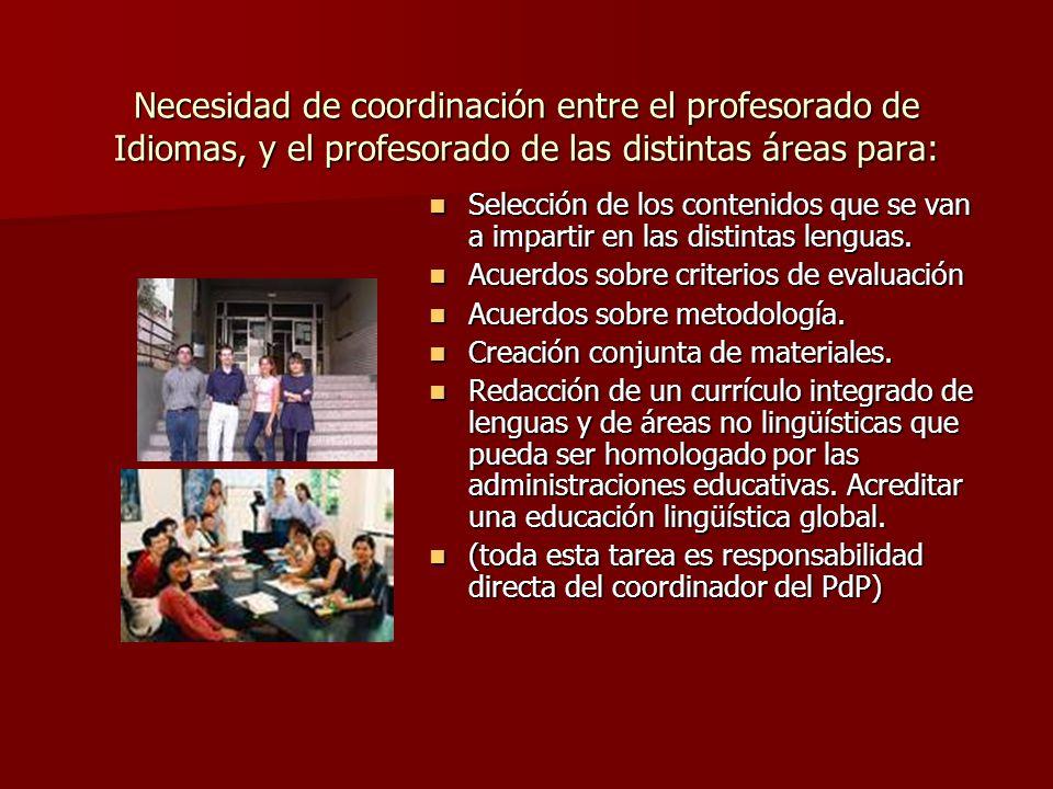 Necesidad de coordinación entre el profesorado de Idiomas, y el profesorado de las distintas áreas para: Selección de los contenidos que se van a impa