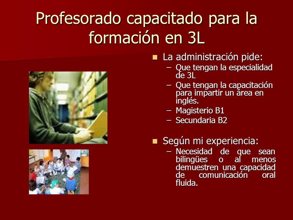 Profesorado capacitado para la formación en 3L La administración pide: La administración pide: –Que tengan la especialidad de 3L –Que tengan la capaci