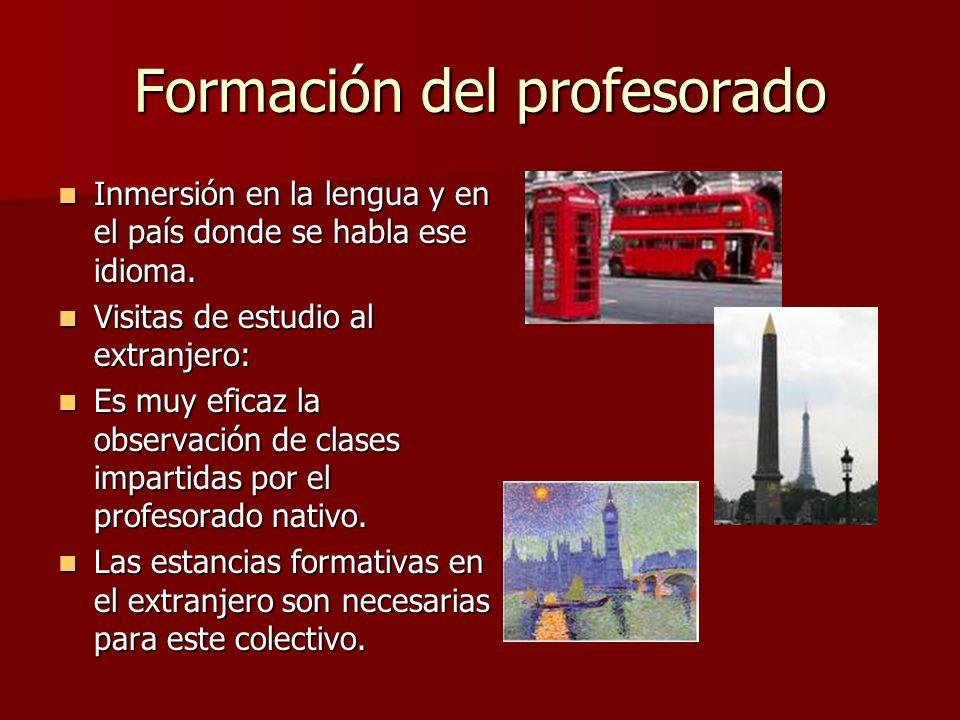 Formación del profesorado Inmersión en la lengua y en el país donde se habla ese idioma. Inmersión en la lengua y en el país donde se habla ese idioma