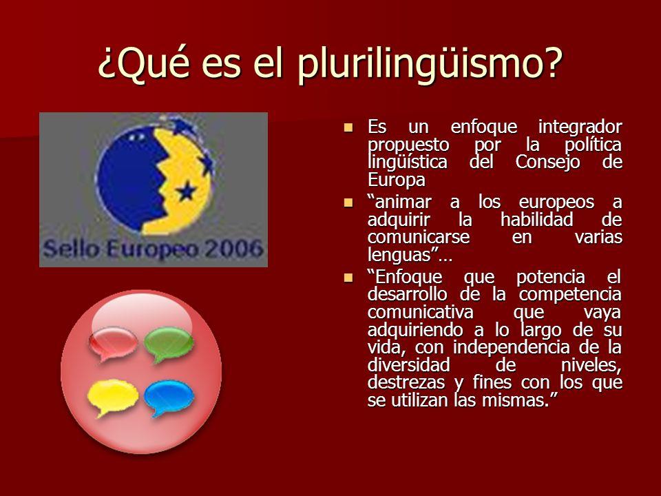 ¿Qué es el plurilingüismo? Es un enfoque integrador propuesto por la política lingüística del Consejo de Europa Es un enfoque integrador propuesto por